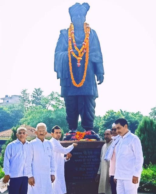 पलवल में पूर्व उपप्रधानमंत्री ताऊ देवीलाल को अर्पित कि श्रद्धांजलि