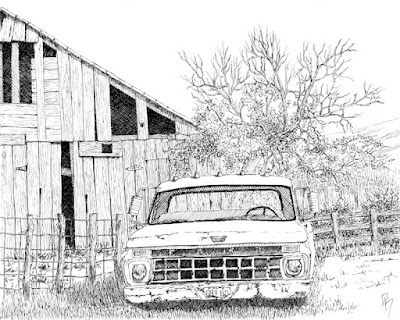 art drawing pen ink Ford abandoned rural
