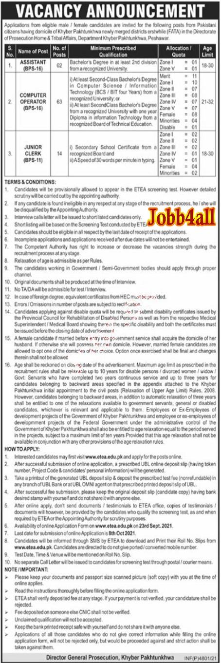 Jobs in KPK Home & Tribal Affairs Department 2021