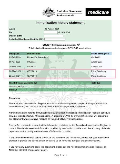 sample of digital vaccine certificate