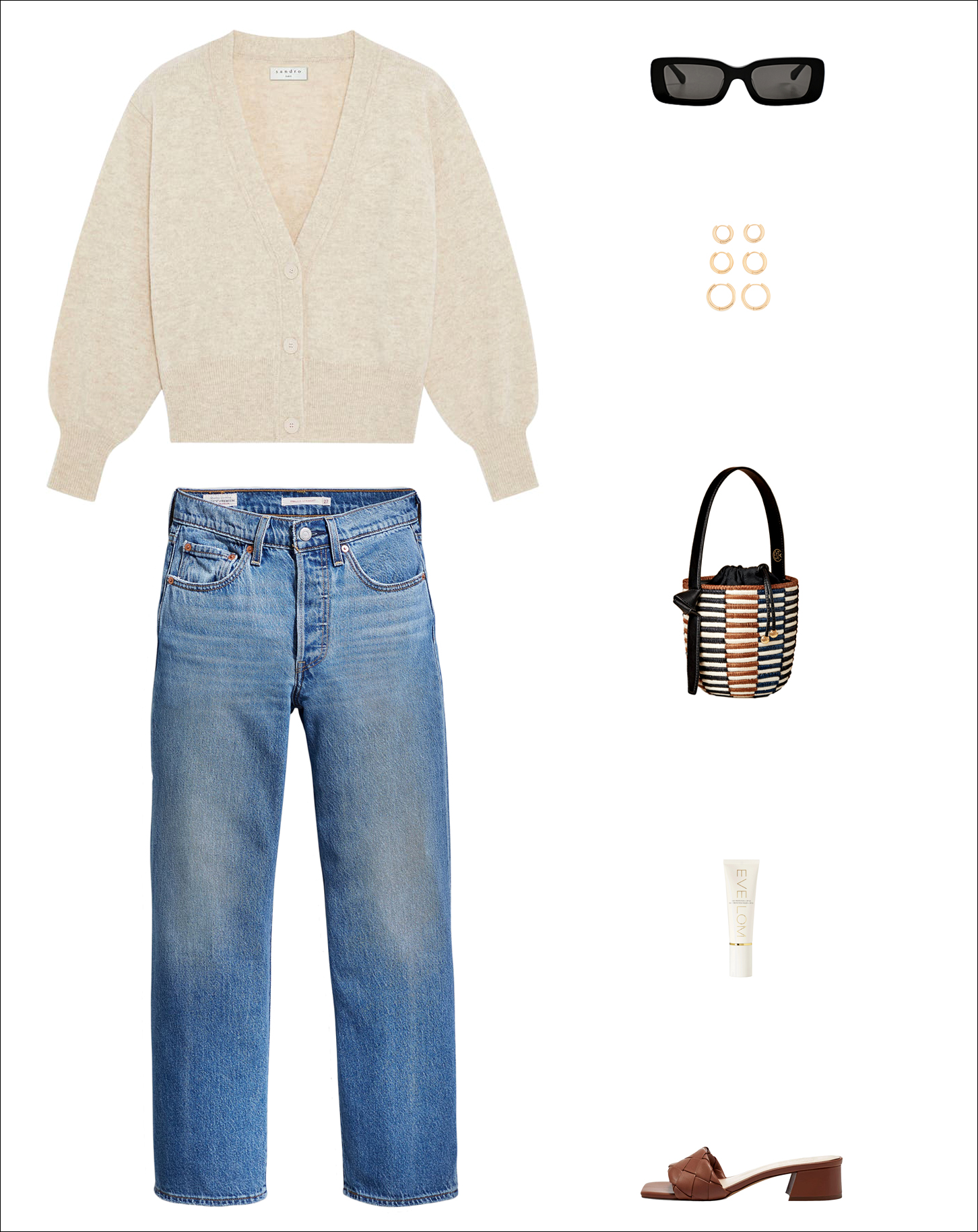 stylish spring outfit idea with a neutral cardigan, black rectangle sunglasses, hoop earrings, Cesta mini bucket bag, classic straight-leg Levi's jeans, and braided slide sandals