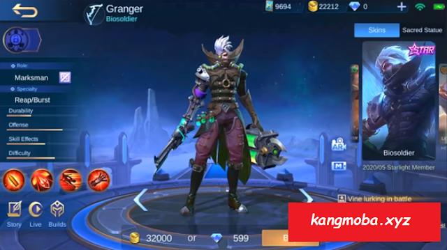 Script Skin Starlight Granger Biosoldier Full Effect Mobile Legends