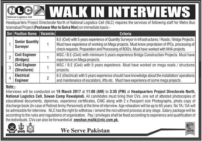Pak Army Jobs in NLC - Rawalpindi Pakistan