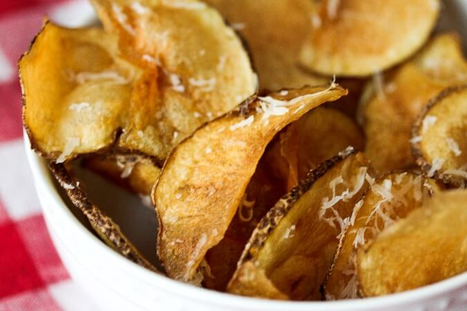 Potato chips sprinkled with parmesan