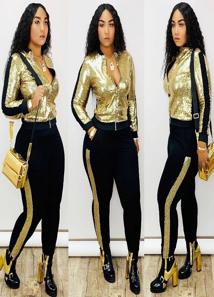 2 Piece Women Tracksuit Long Sleeve Jacket Top Pants Suit Sparkly Matching Sets