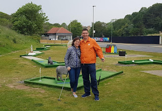 Emily and Richard Gottfried at the North Bay Crazy Golf in Scarborough