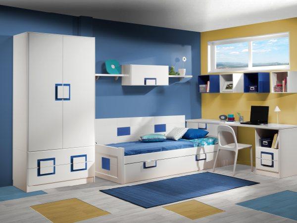Dormitorio juvenil con cama nido blanca armario de 2 - Como pintar habitacion juvenil ...