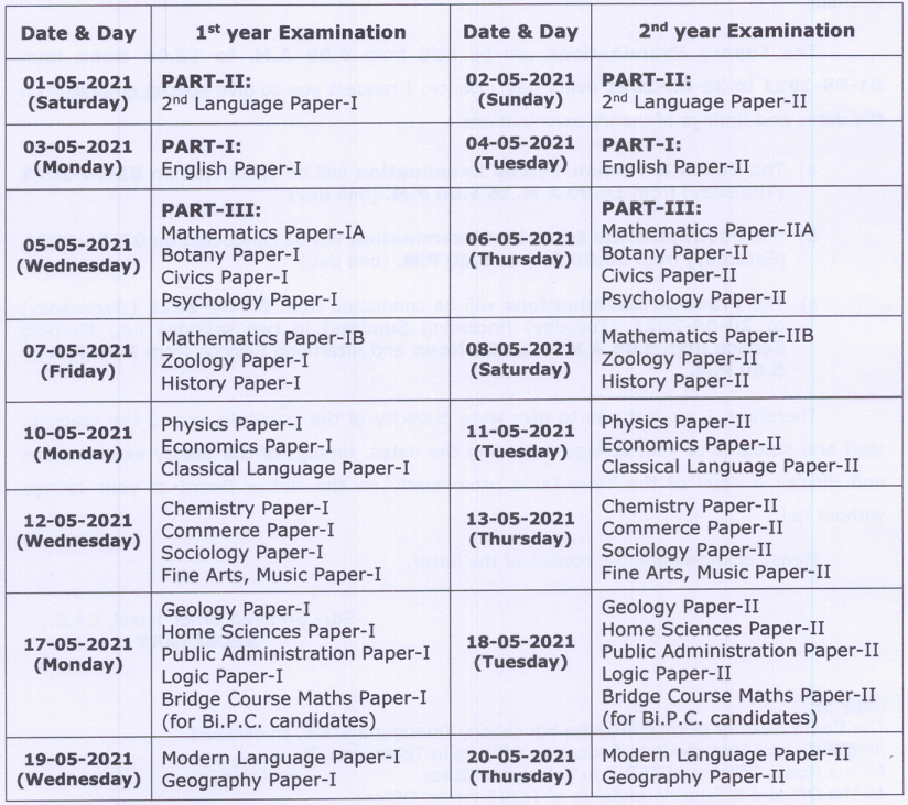TS Intermediate Examination 1st Year and 2nd Year Time Table 2021