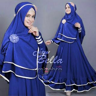 harga new gamis bella syari fit l blue