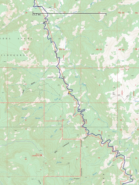 Cherry Creek Road is the purple line. Sierra Ancha Wilderness border is the red line.