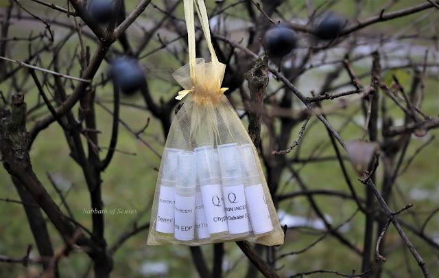 Zestaw próbek perfum Maison Incens w żółtym woreczku
