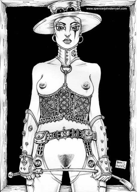 Steampunk Dominatrix • Ink drawing by Spencer John Derry