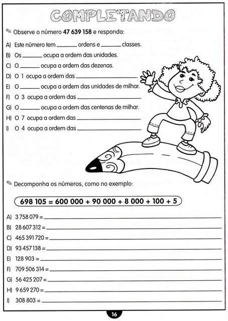 atividades de matematica para o 4 ano