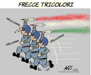 frecce tricolori, festa della repubblica, 2 giugno, parata, fori imperiali, crisi economica, tagli alla spesa, spese militari, vignetta, satira