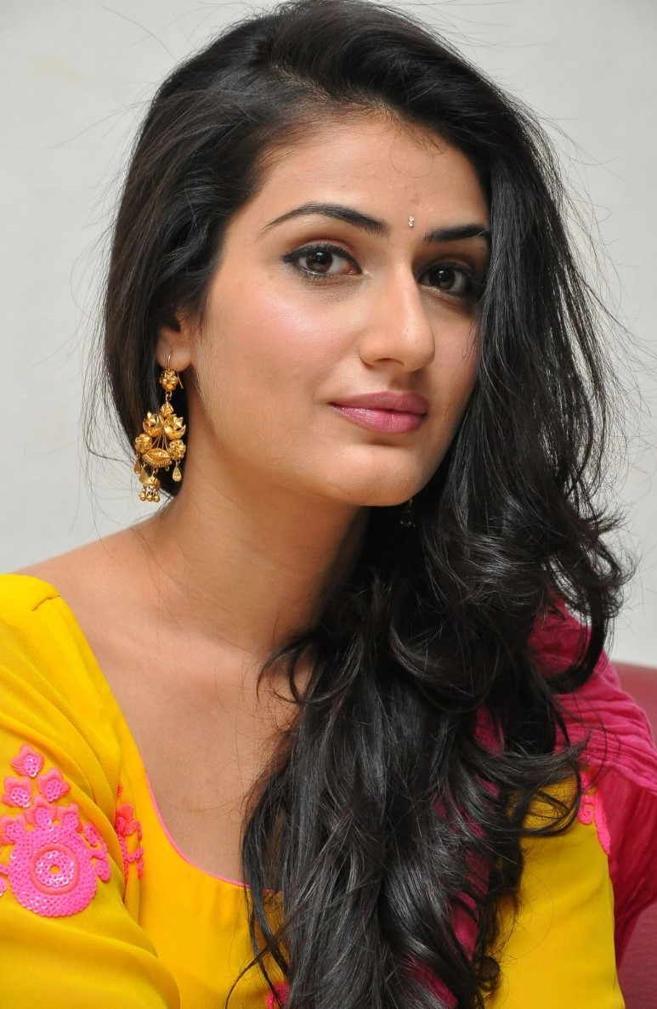 Beautiful Telugu Girl Sana Long Hair Yellow Dress Gallery
