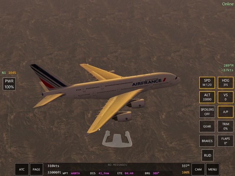 A380 scène du jeu de simulation de pilotage d'avions Infinite Flight