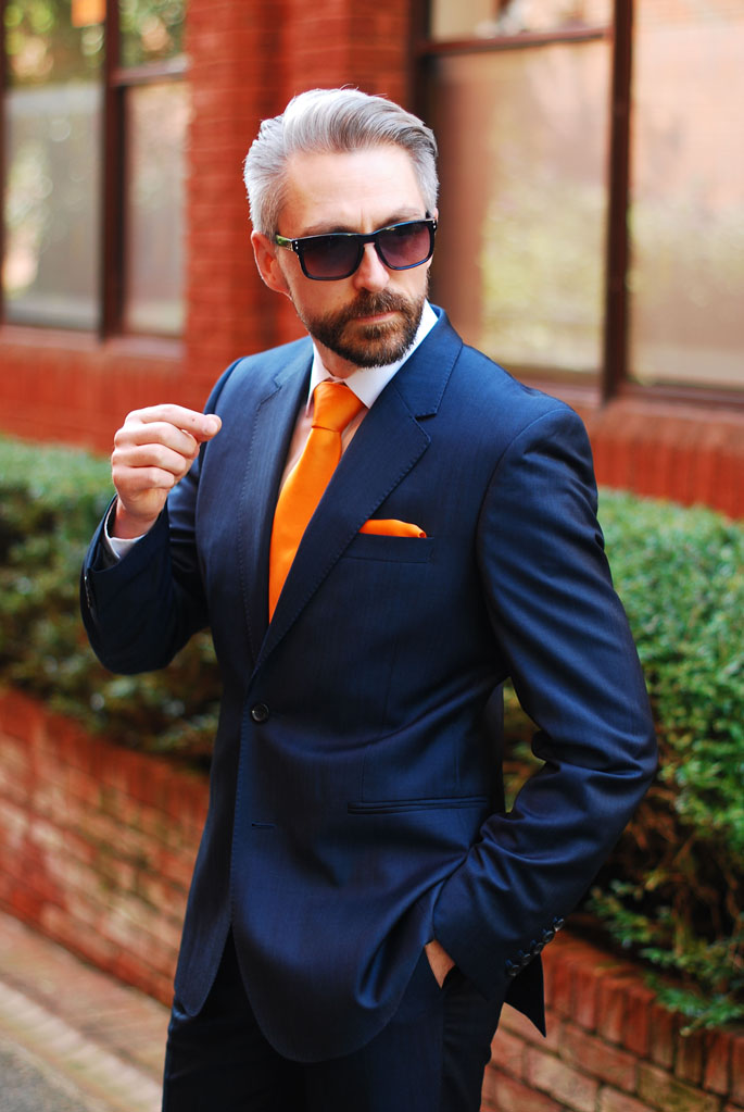 8b245439d319 Blue Reiss Suit, Orange Tie and Matching Pocket Square   Silver ...