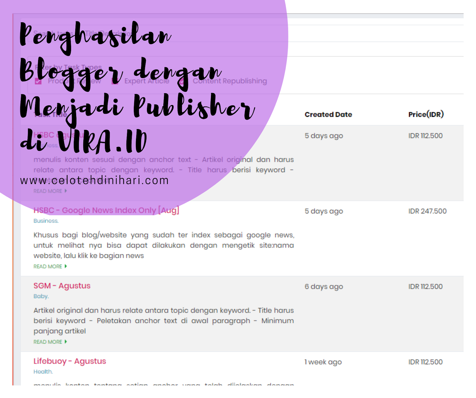 penghasilan blogger dari VIRA.ID