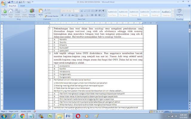 Contoh Soal Ujian Madrasah (UM) Sosiologi MA