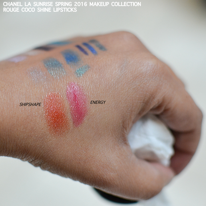 Chanel LA Sunrise Spring 2016 Makeup Swatches Photos Rouge Coco Shine Lipsticks Energy Shipshape