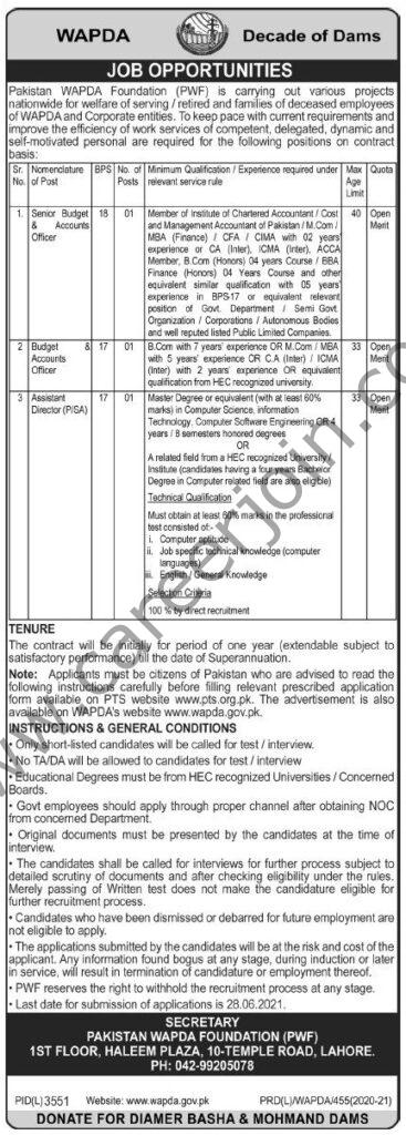 www.wapda.gov.pk Jobs  - Pakistan WAPDA Foundation Jobs 2021 Latest Vacancies - PWF Jobs 2021 in Pakistan