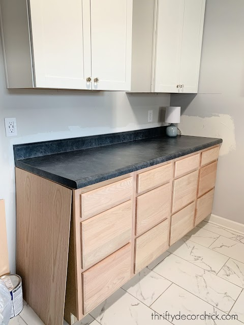 upper and lower cabinets mud room