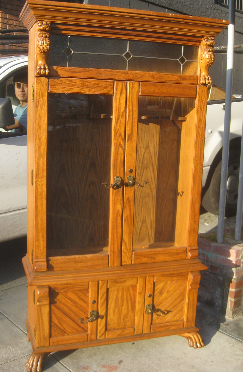 UHURU FURNITURE & COLLECTIBLES: SOLD - Oak Gun Cabinet - $95