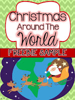 FREE Christmas Around the World sample for America-  December Activities and primary resources plus three FREEBIES- fun ELA, math, and social studies activities for students during the month of December