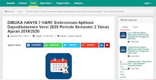DIBUKA KEMBALI SINKRONISASI DAPODIK VERSI 2020 SEMESTER 2 TAHUN PELAJARAN 2019/2020