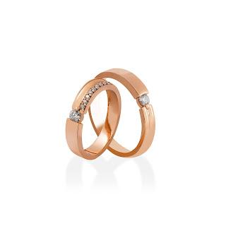 Nhẫn đôi kim cương tự nhiên vàng 14K