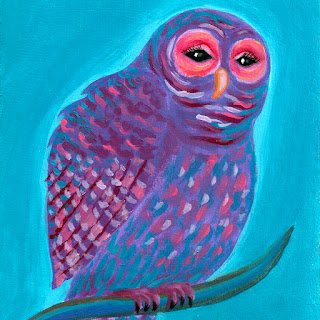 Purple night owl acrylic painting