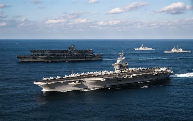 AS Kerahkan Tiga Kapal Induk Sekaligus di Samudra Pasifik, China Ketar-ketir