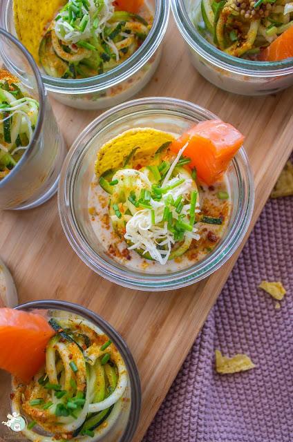 Fingerfood mit Lachs, Kokosmilch und Zucchini
