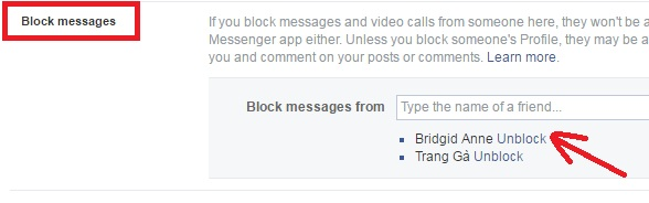 block messages