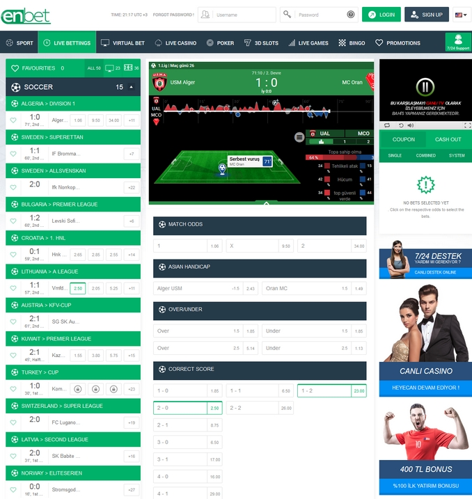 Enbet Live Betting Screen