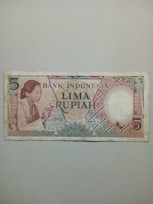 5 rupiah tahun 1958