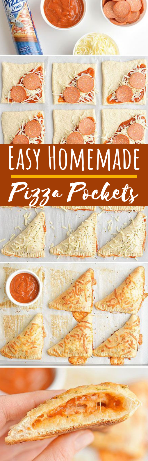 Easy Cheesy Homemade Pizza Pockets #appetizers #lunch