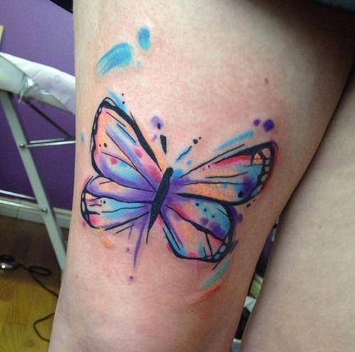 Aquarela Tatuagem De Borboleta