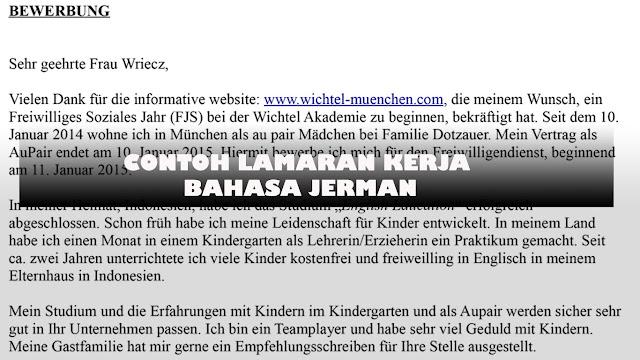 Contoh Lamaran Kerja, Daftar Riwayat Hidup dan Motivation Letter dalam bahasa Jerman dan Inggris