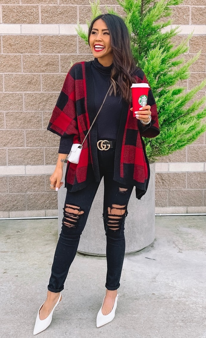 how to style ripped jeans : white crossbody bag + plaid poncho + top + heels