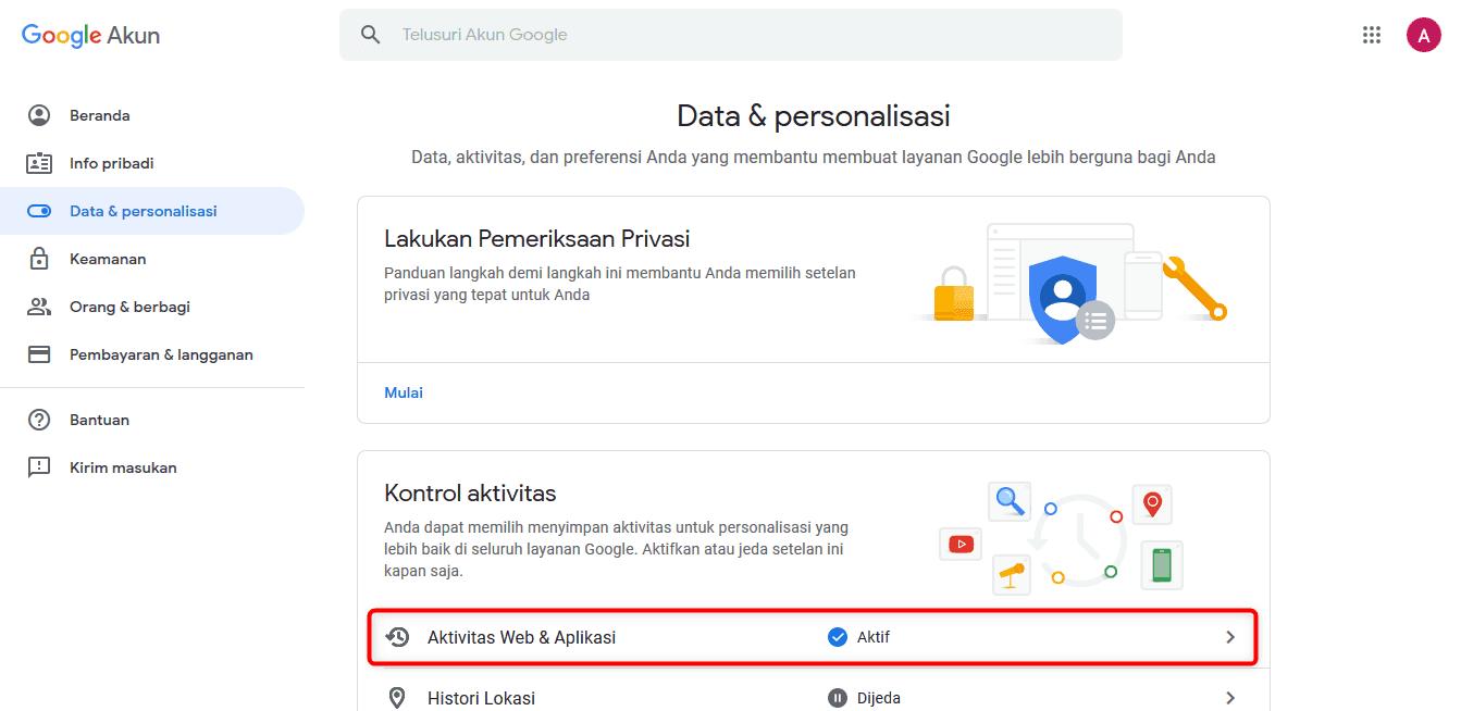 Kontrol aktivitas Google