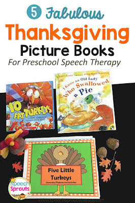 5 Best Books and activities or preschool and kindergarten speech therapy #speechsprouts #speechtherapy #thanksgiving #storybooks #sped #preschool