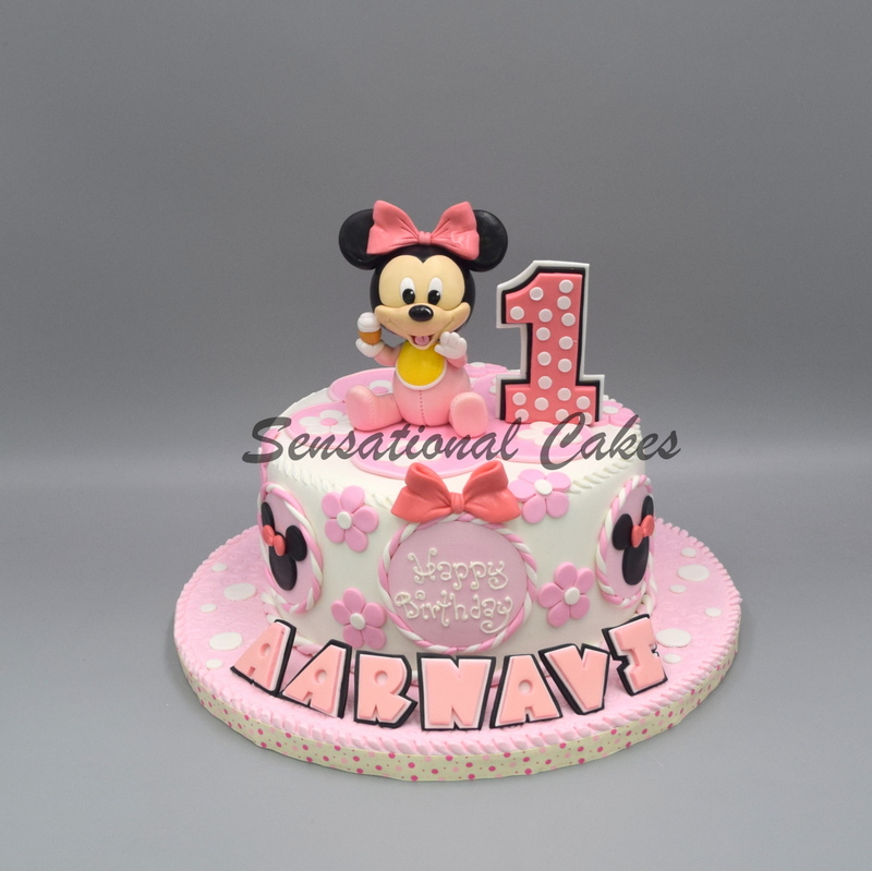Fantastic The Sensational Cakes Minnie Mouse Baby Pink 1St Birthday Funny Birthday Cards Online Unhofree Goldxyz