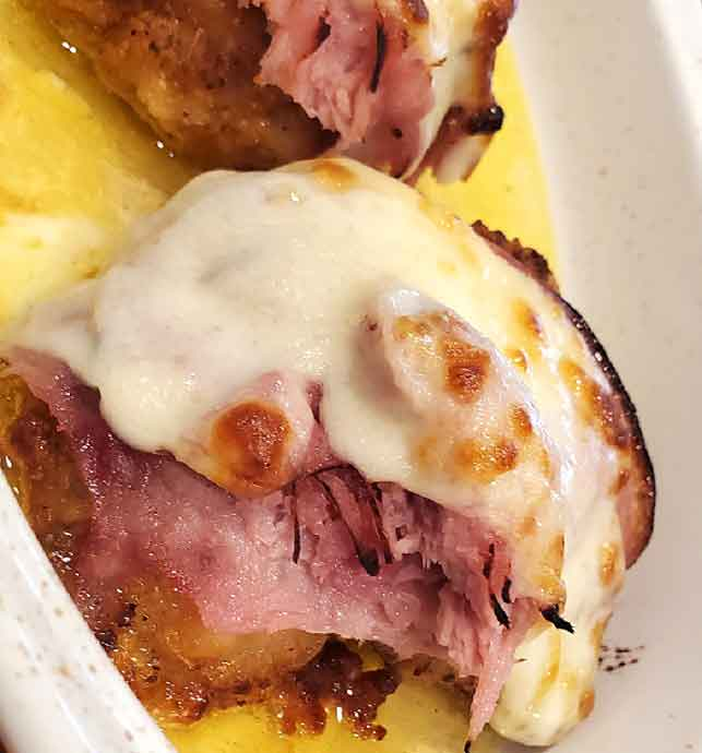 chicken breast stuffed with ham and cheese baked