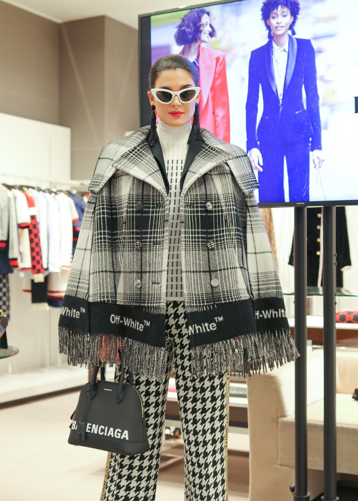 Plaid on Plaid, balenciaga handbag 2018, off white poncho