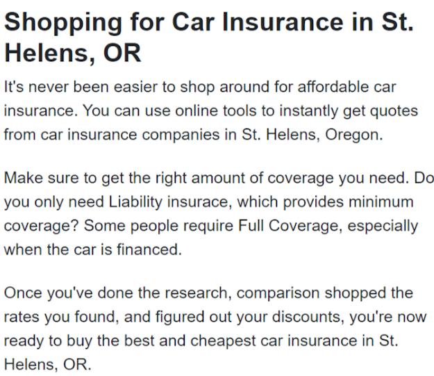 Car Insurance St Helens OR