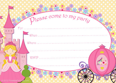 yellow and pink Cinderella invite template