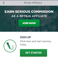 Sign up page of bet9ja affiliate program