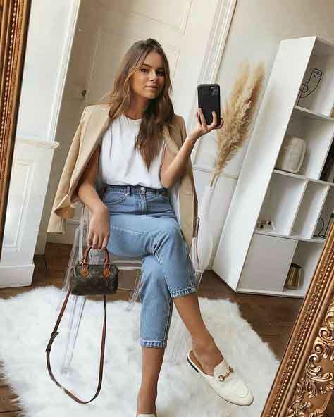 Looks de outono com calça jeans