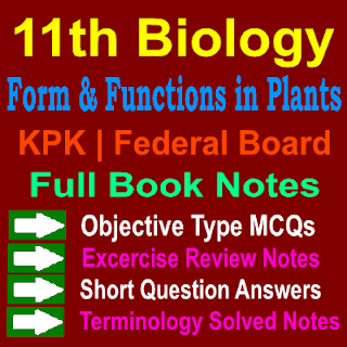 Biology MCQs and Question Answers Notes 1st Year Notes Form and Functions in Plants Chapter Ten